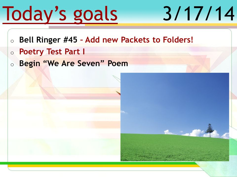 Today's goals o Bell Ringer #59 o SAR Point Deadline – TODAY.