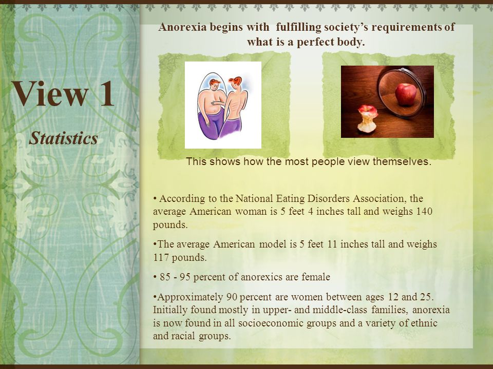 View 1 Statistics Anorexia begins with fulfilling society's requirements of what is a perfect body.