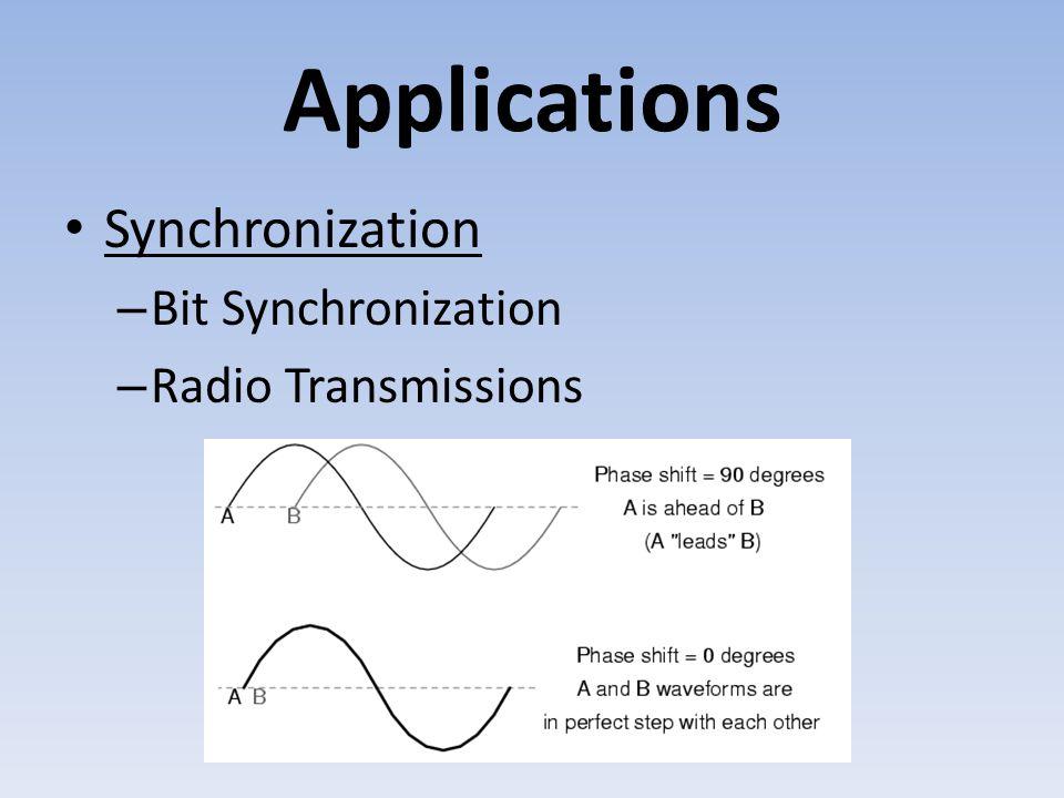 Applications Synchronization – Bit Synchronization – Radio Transmissions