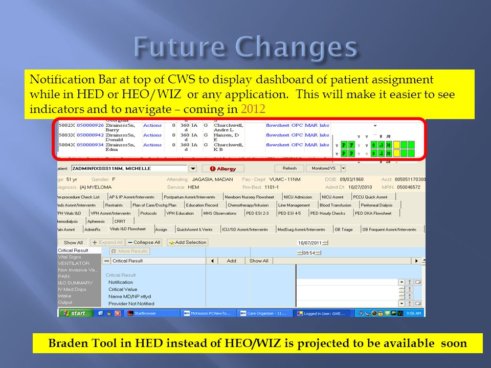 Notification Bar at top of CWS to display dashboard of patient assignment while in HED or HEO/WIZ or any application.