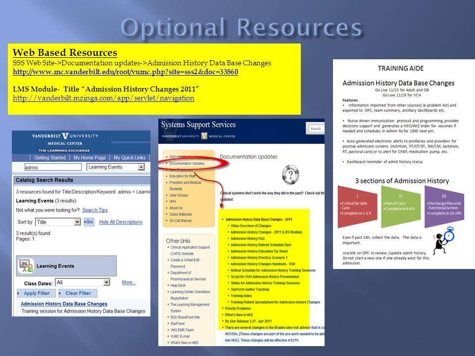 Web Based Resources SSS Web Site->Documentation updates->Admission History Data Base Changes http://www.mc.vanderbilt.edu/root/vumc.php?site=sss2&doc=33860 LMS Module- Title Admission History Changes 2011 http://vanderbilt.mzinga.com/app/servlet/navigation