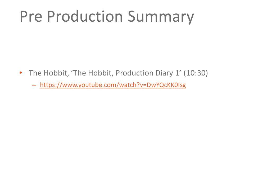 Pre Production Summary The Hobbit, 'The Hobbit, Production Diary 1' (10:30) – https://www.youtube.com/watch?v=DwYQcKK0Isg https://www.youtube.com/watc