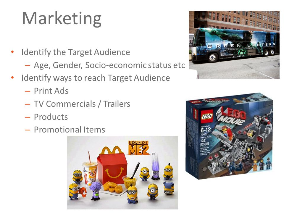 Marketing Identify the Target Audience – Age, Gender, Socio-economic status etc Identify ways to reach Target Audience – Print Ads – TV Commercials / Trailers – Products – Promotional Items
