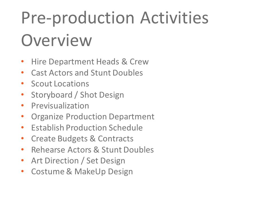 Casting Department Auditioning and casting (hiring actors) will occupy most of the director and producer's time for the next few weeks, now that the departments are working on their script breakdowns and costings.