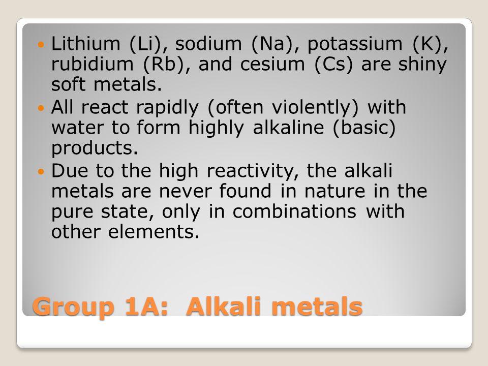 Group 1A: Alkali metals Lithium (Li), sodium (Na), potassium (K), rubidium (Rb), and cesium (Cs) are shiny soft metals. All react rapidly (often viole
