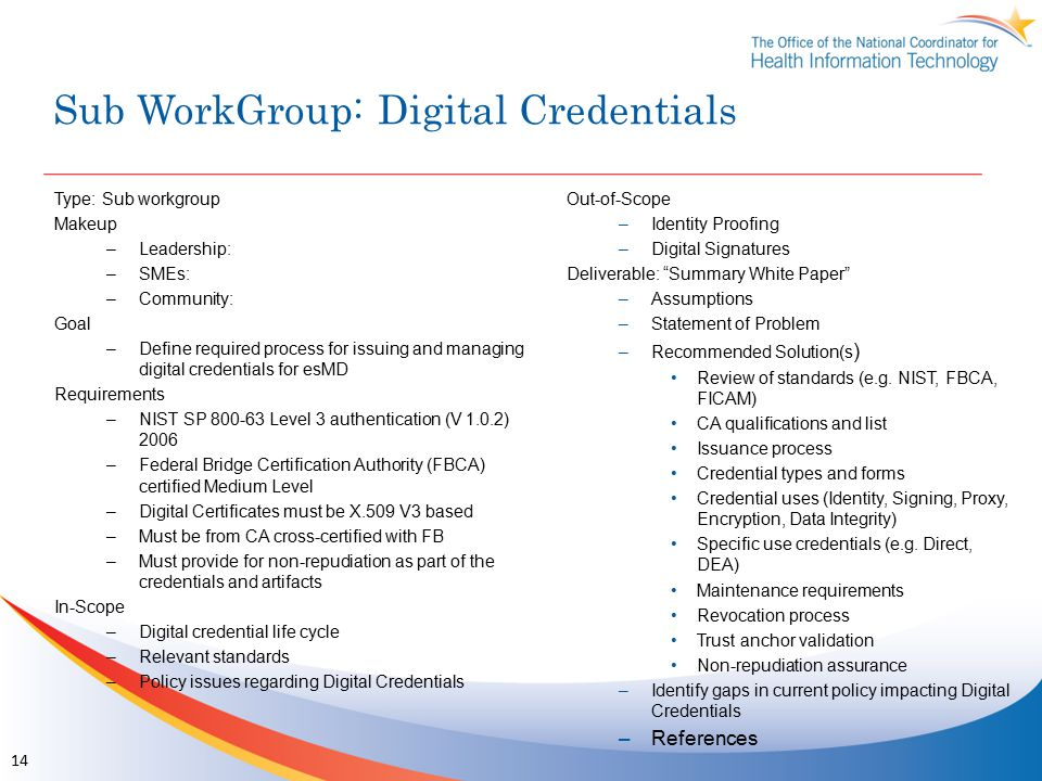 Sub WorkGroup: Digital Credentials Type: Sub workgroup Makeup –Leadership: –SMEs: –Community: Goal –Define required process for issuing and managing digital credentials for esMD Requirements –NIST SP 800-63 Level 3 authentication (V 1.0.2) 2006 –Federal Bridge Certification Authority (FBCA) certified Medium Level –Digital Certificates must be X.509 V3 based –Must be from CA cross-certified with FB –Must provide for non-repudiation as part of the credentials and artifacts In-Scope –Digital credential life cycle –Relevant standards –Policy issues regarding Digital Credentials Out-of-Scope –Identity Proofing –Digital Signatures Deliverable: Summary White Paper –Assumptions –Statement of Problem –Recommended Solution(s ) Review of standards (e.g.