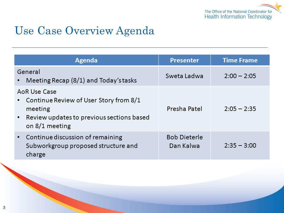Use Case Overview Agenda AgendaPresenterTime Frame General Meeting Recap (8/1) and Today's tasks Sweta Ladwa2:00 – 2:05 AoR Use Case Continue Review of User Story from 8/1 meeting Review updates to previous sections based on 8/1 meeting Presha Patel2:05 – 2:35 Continue discussion of remaining Subworkgroup proposed structure and charge Bob Dieterle Dan Kalwa2:35 – 3:00 3