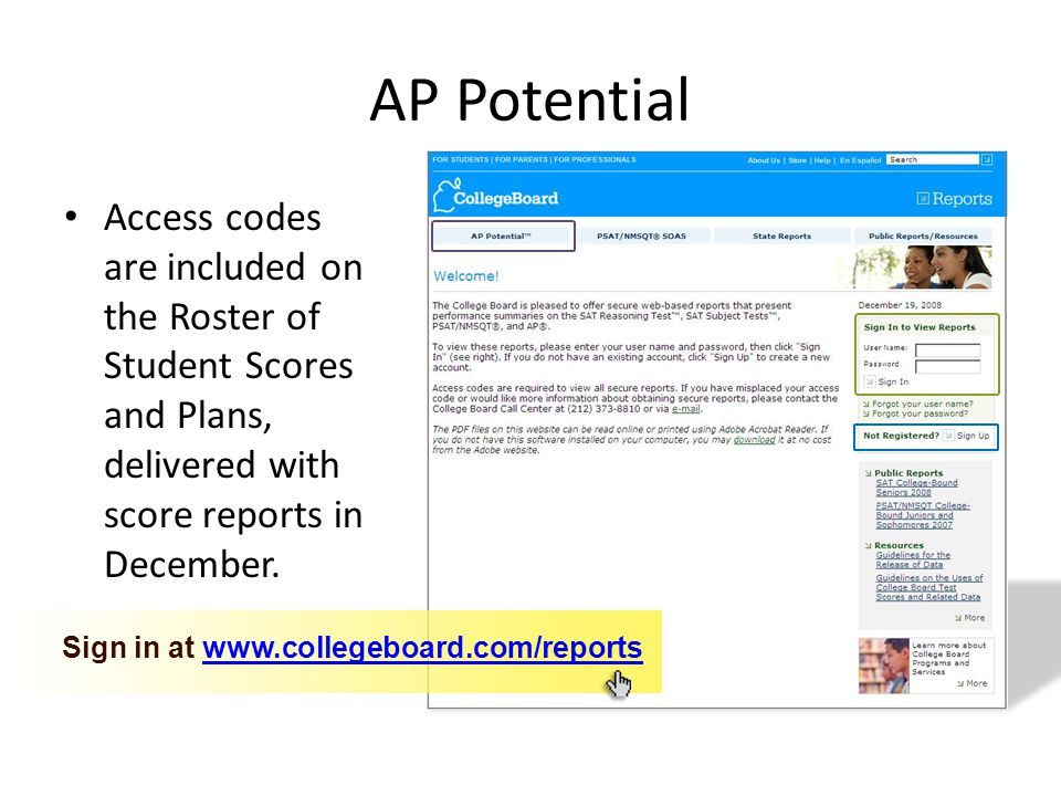 Access codes are included on the Roster of Student Scores and Plans, delivered with score reports in December.