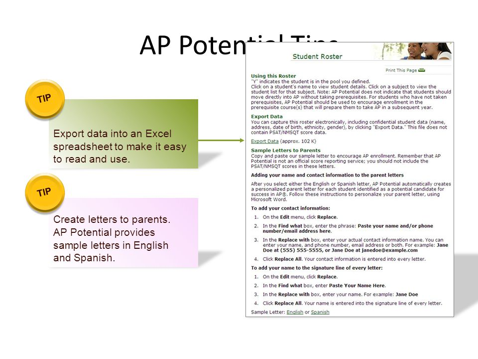 AP Potential Tips Export data into an Excel spreadsheet to make it easy to read and use. Create letters to parents. AP Potential provides sample lette