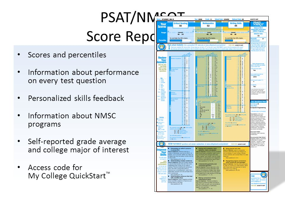 Scores and percentiles Information about performance on every test question Personalized skills feedback Information about NMSC programs Self-reported grade average and college major of interest Access code for My College QuickStart ™ PSAT/NMSQT Score Report Plus