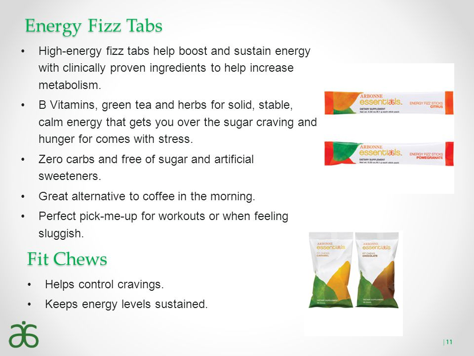 Energy Fizz Tabs High-energy fizz tabs help boost and sustain energy with clinically proven ingredients to help increase metabolism. B Vitamins, green