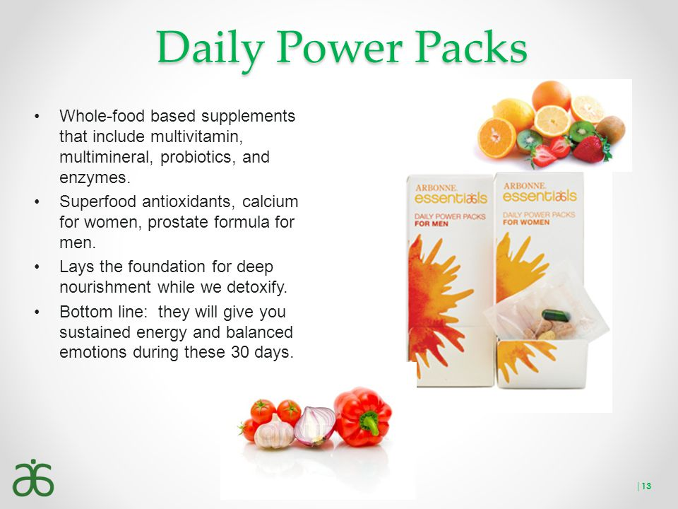 Daily Power Packs Whole-food based supplements that include multivitamin, multimineral, probiotics, and enzymes. Superfood antioxidants, calcium for w