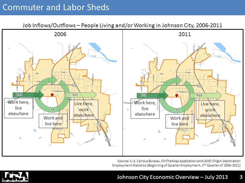 Johnson City Economic Overview – July 20133 Job Inflows/Outflows – People Living and/or Working in Johnson City, 2006-2011 20112006 Source: U.S.
