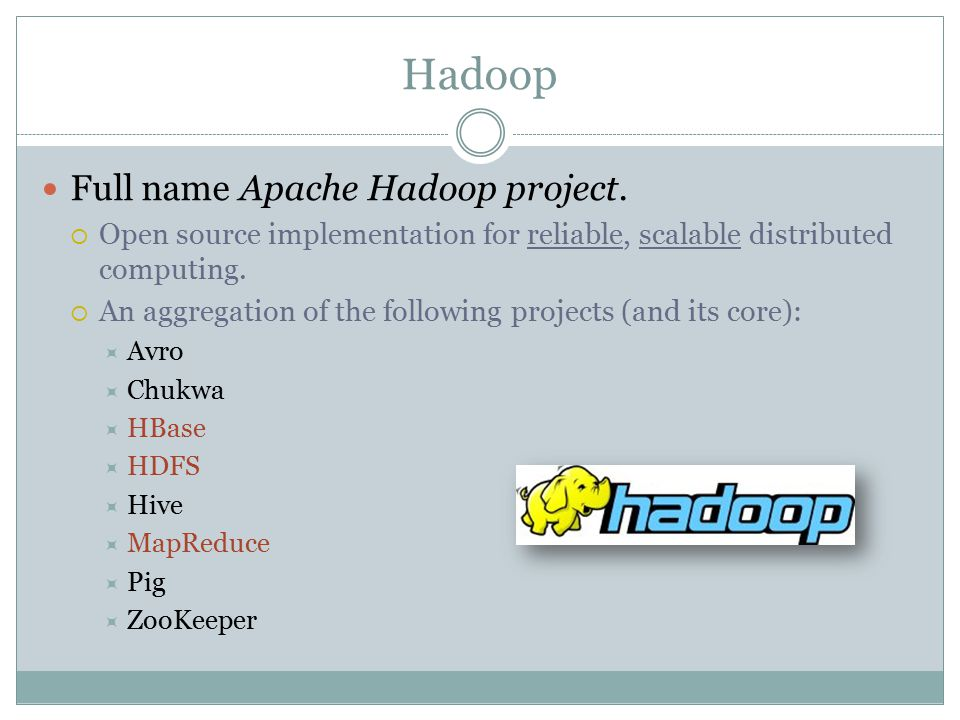Hadoop Full name Apache Hadoop project.  Open source implementation for reliable, scalable distributed computing.  An aggregation of the following p