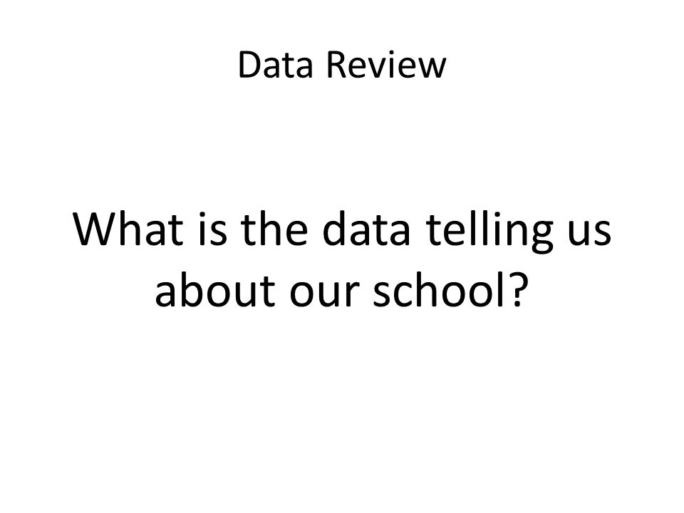 Data Review What is the data telling us about our school