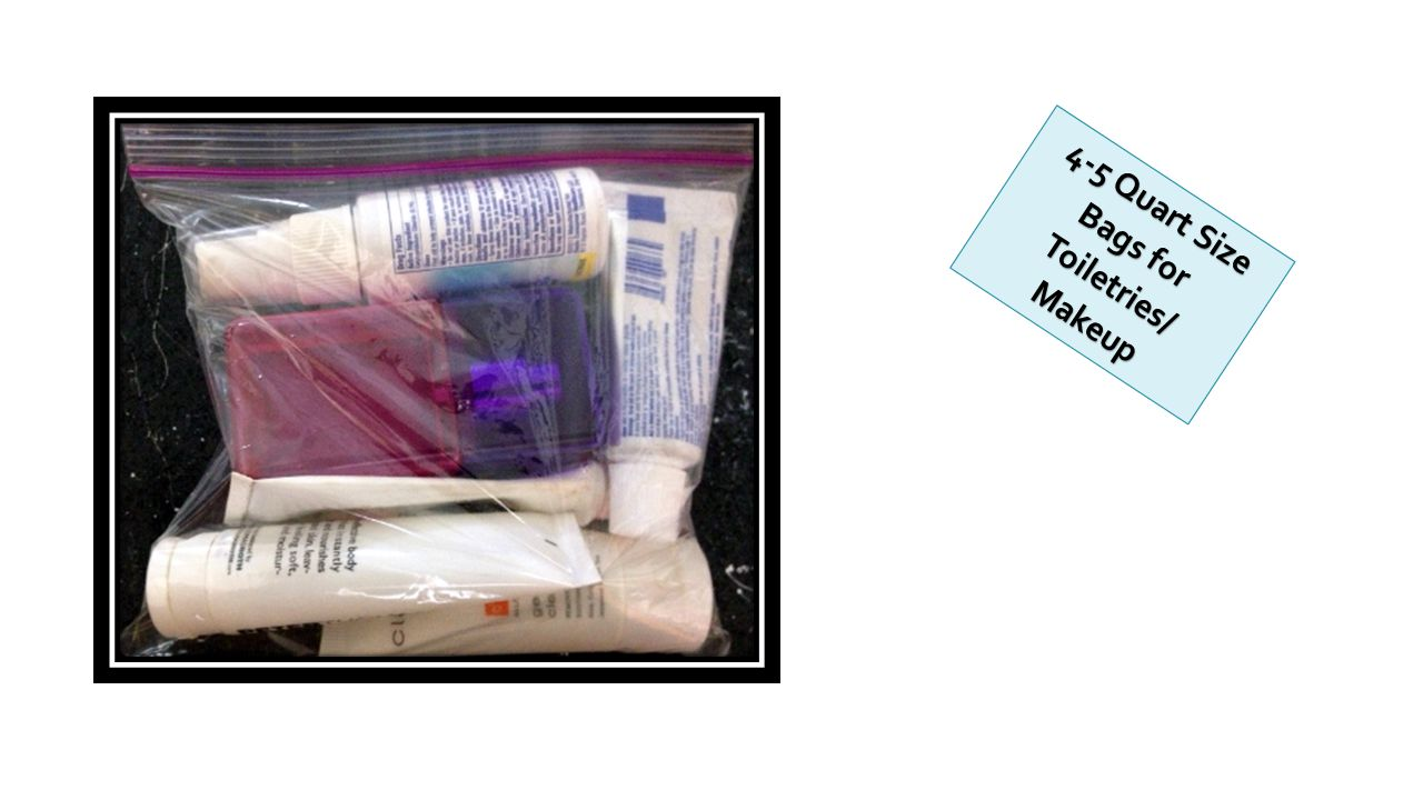 4-5 Quart Size Bags for Toiletries/ Makeup