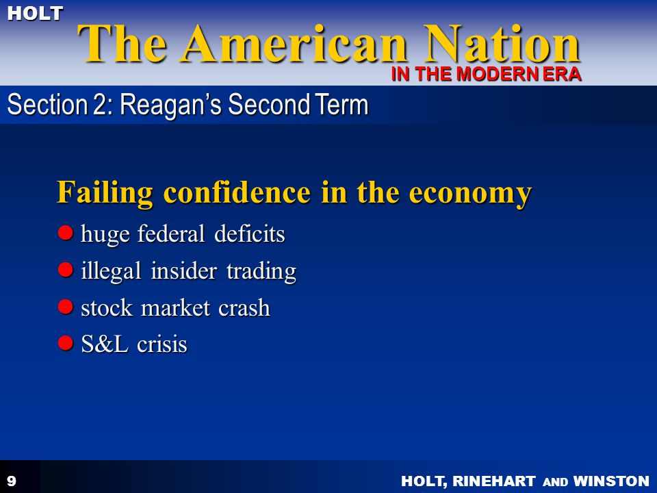 HOLT, RINEHART AND WINSTON The American Nation HOLT IN THE MODERN ERA 9 Failing confidence in the economy huge federal deficits huge federal deficits