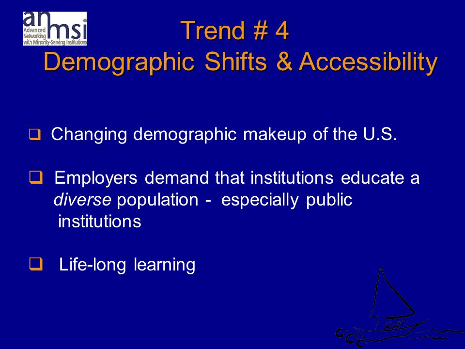 Trend # 4 Demographic Shifts & Accessibility Demographic Shifts & Accessibility  Changing demographic makeup of the U.S.
