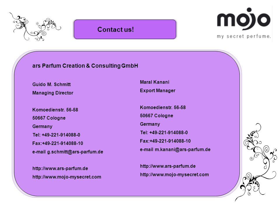 Contact us. ars Parfum Creation & Consulting GmbH Guido M.