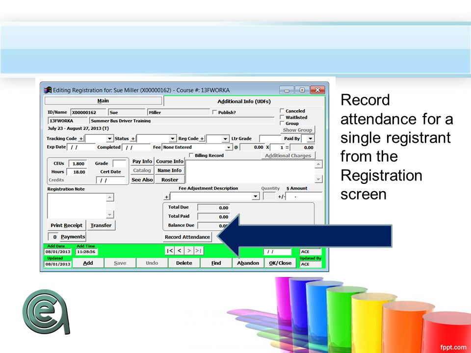 Record attendance for a single registrant from the Registration screen