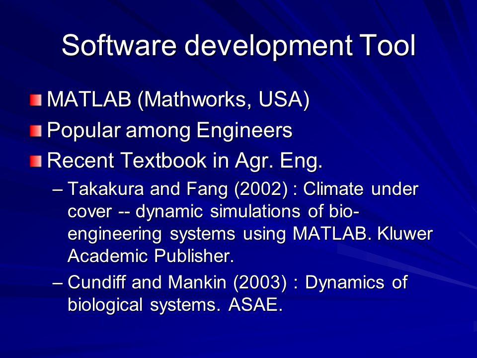 Software development Tool MATLAB (Mathworks, USA) Popular among Engineers Recent Textbook in Agr.