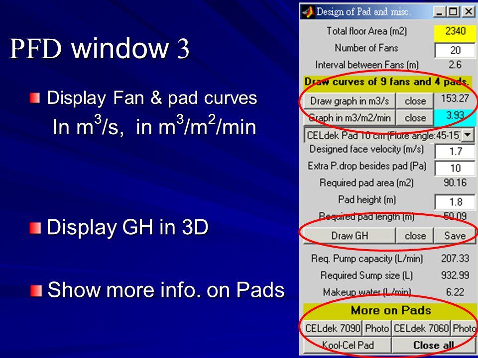 PFD window 3 Display Fan & pad curves In m 3 /s, in m 3 /m 2 /min In m 3 /s, in m 3 /m 2 /min Display GH in 3D Show more info.