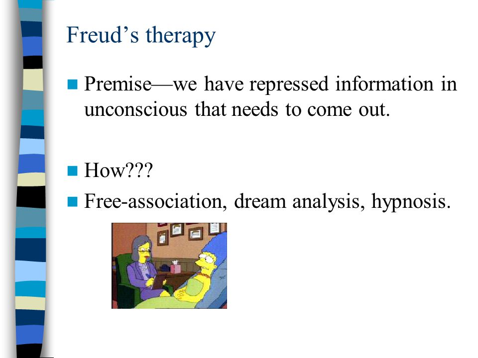 Freud's therapy Premise—we have repressed information in unconscious that needs to come out.