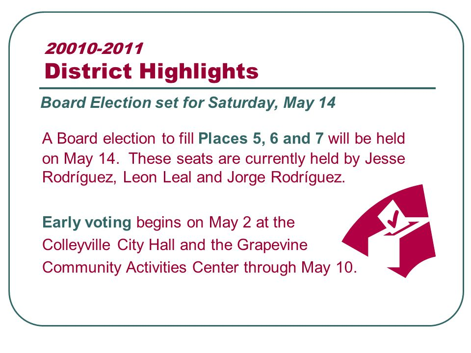 20010-2011 District Highlights A Board election to fill Places 5, 6 and 7 will be held on May 14.