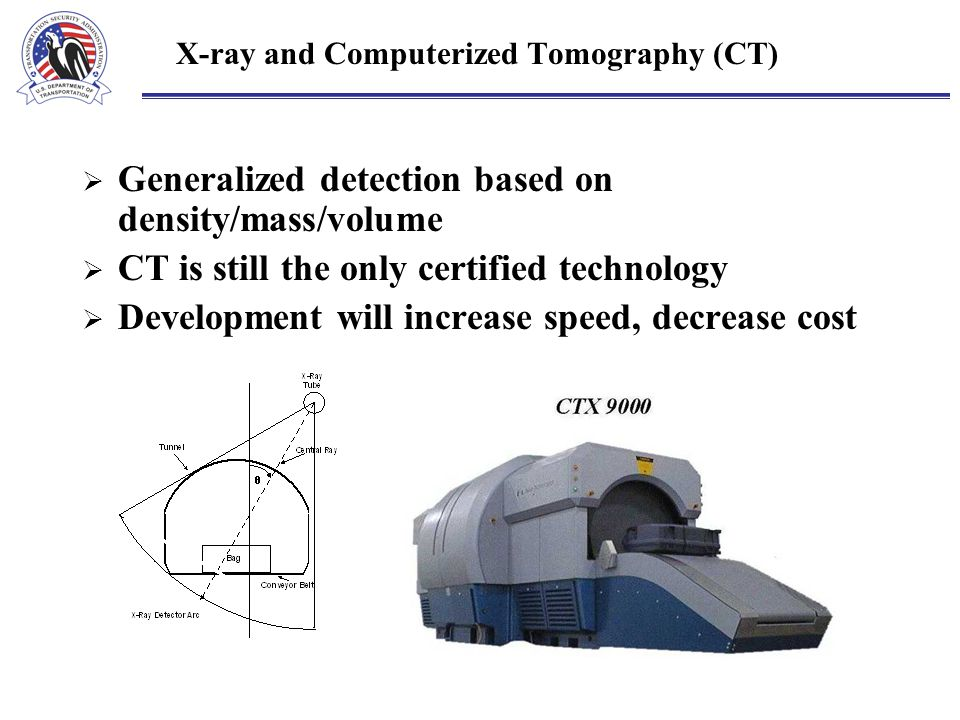 X-ray and Computerized Tomography (CT)  Generalized detection based on density/mass/volume  CT is still the only certified technology  Development will increase speed, decrease cost