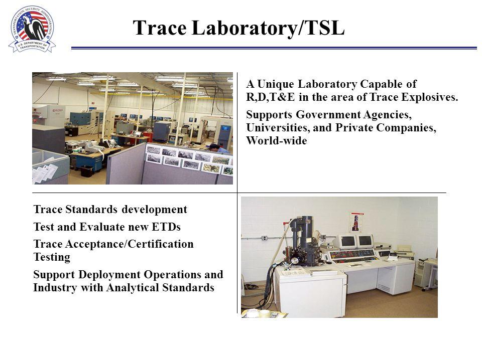 Trace Laboratory/TSL A Unique Laboratory Capable of R,D,T&E in the area of Trace Explosives.