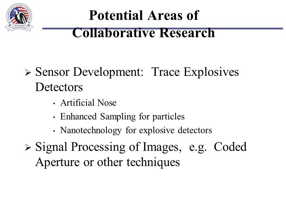 Potential Areas of Collaborative Research  Sensor Development: Trace Explosives Detectors Artificial Nose Enhanced Sampling for particles Nanotechnol