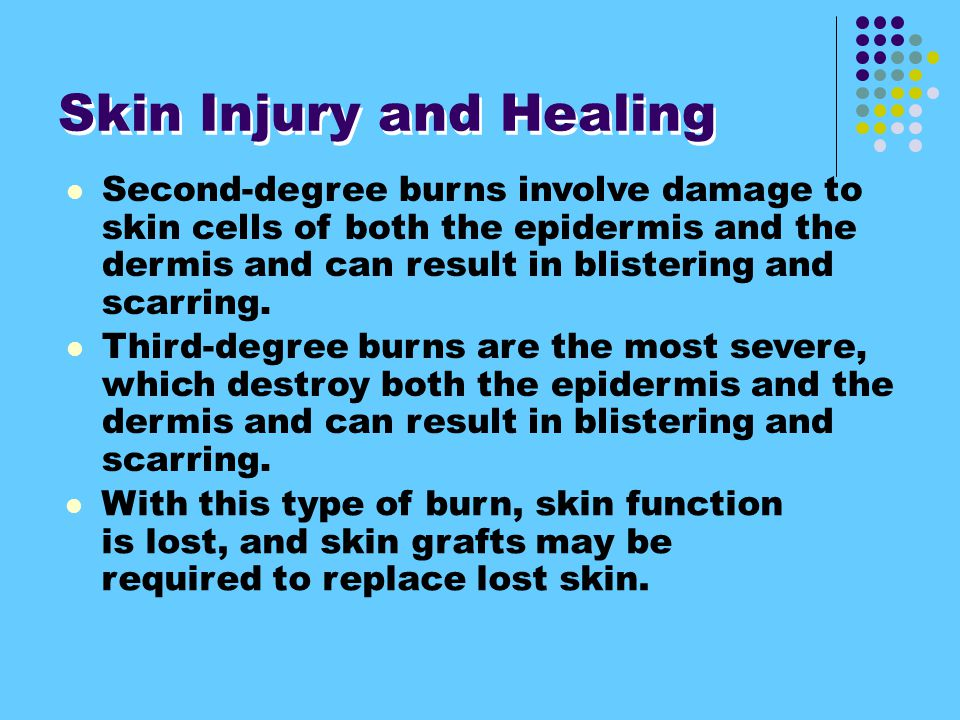 Second-degree burns involve damage to skin cells of both the epidermis and the dermis and can result in blistering and scarring.