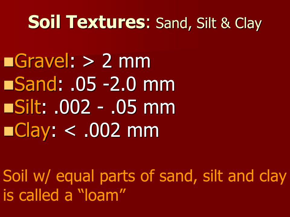 Soil Textures: Sand, Silt & Clay Gravel: > 2 mm Gravel: > 2 mm Sand:.05 -2.0 mm Sand:.05 -2.0 mm Silt:.002 -.05 mm Silt:.002 -.05 mm Clay: <.002 mm Cl