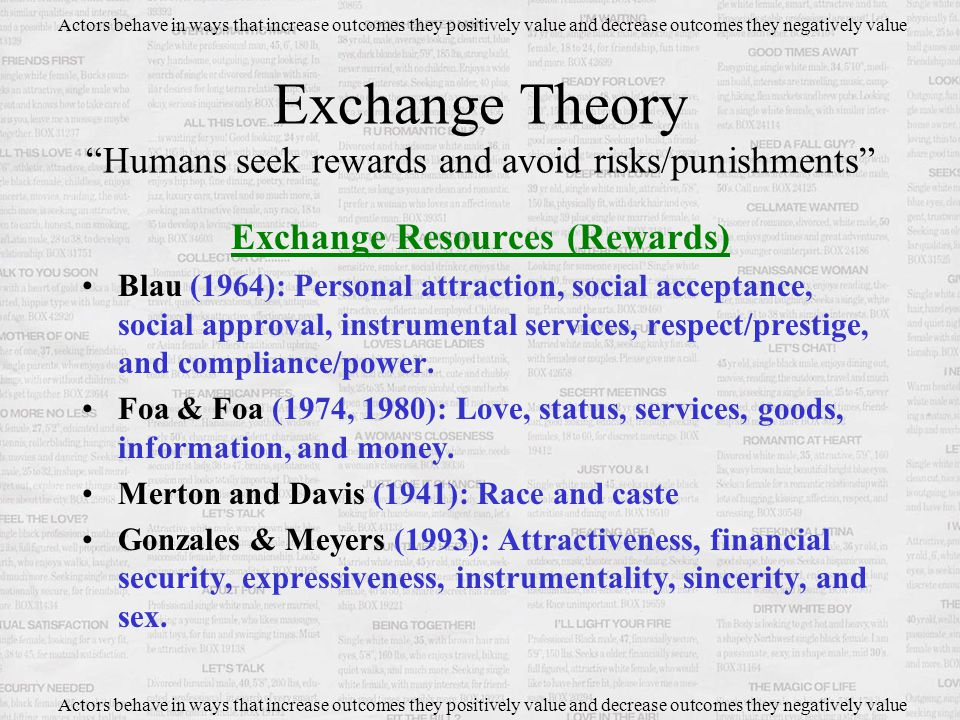 Exchange Resources (Rewards) Blau (1964): Personal attraction, social acceptance, social approval, instrumental services, respect/prestige, and compliance/power.