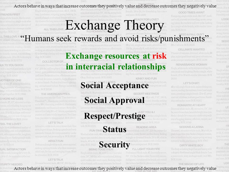 Social Acceptance Exchange Theory Humans seek rewards and avoid risks/punishments Actors behave in ways that increase outcomes they positively value and decrease outcomes they negatively value Exchange resources at risk in interracial relationships Social Approval Respect/Prestige Status Security