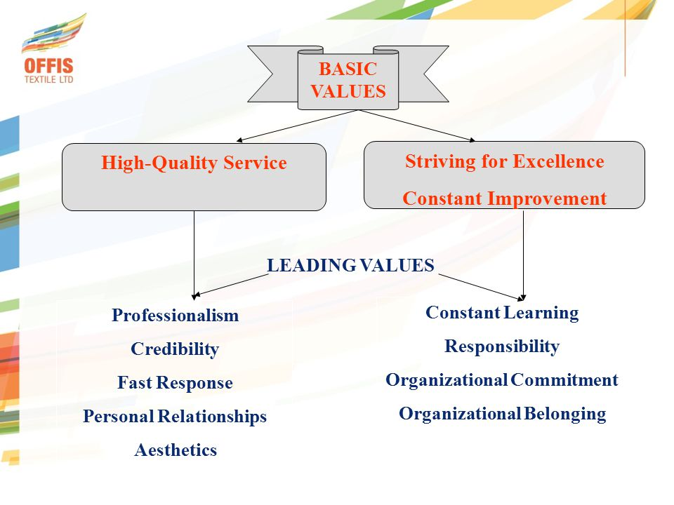 BASIC VALUES Striving for Excellence Constant Improvement High-Quality Service LEADING VALUES Constant Learning Responsibility Organizational Commitme