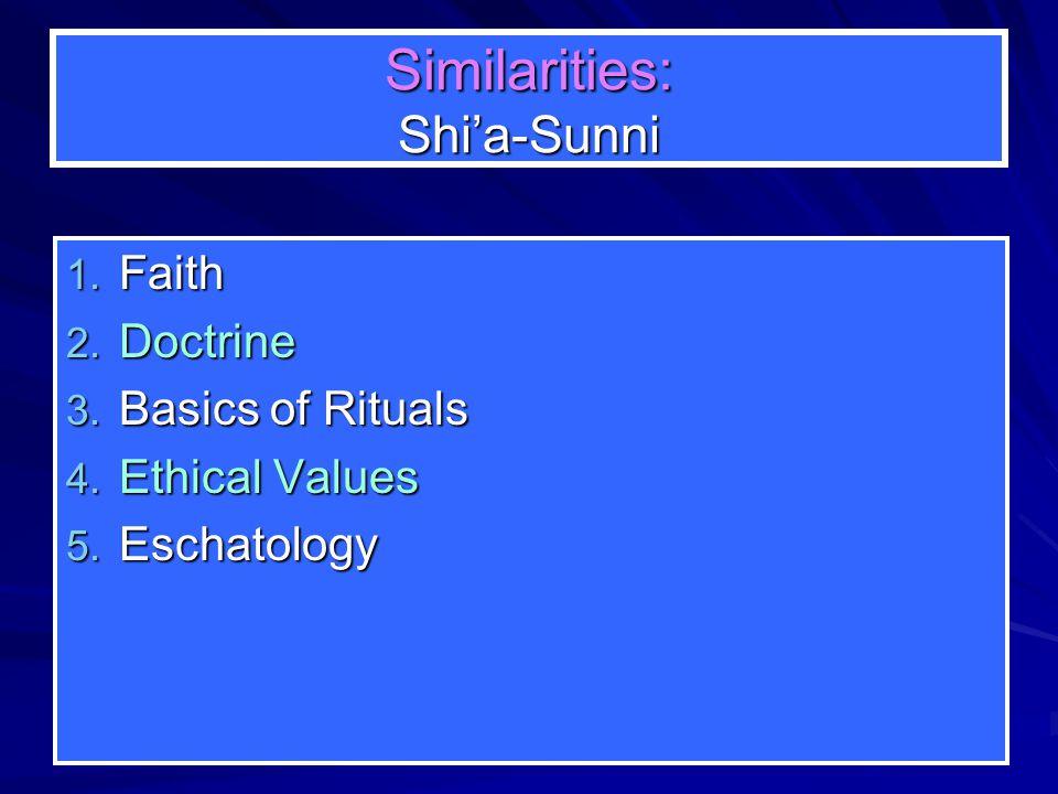 Similarities: Shi'a-Sunni 1. Faith 2. Doctrine 3.