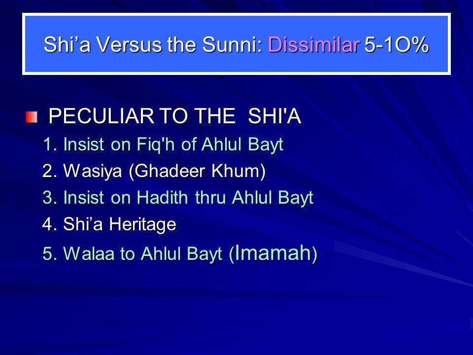 Shi'a Versus the Sunni: Dissimilar 5-1O% PECULIAR TO THE SHI A 1.Insist on Fiq h of Ahlul Bayt 2.Wasiya (Ghadeer Khum) 3.Insist on Hadith thru Ahlul Bayt 4.Shi'a Heritage 5.Walaa to Ahlul Bayt ( Imamah )