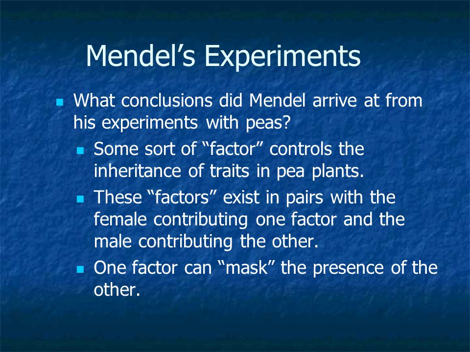 Mendel's Experiments What types of plants (Short/Tall) did Mendel observe in the F1 generation? All Tall plants What types of plants (Short/Tall) did