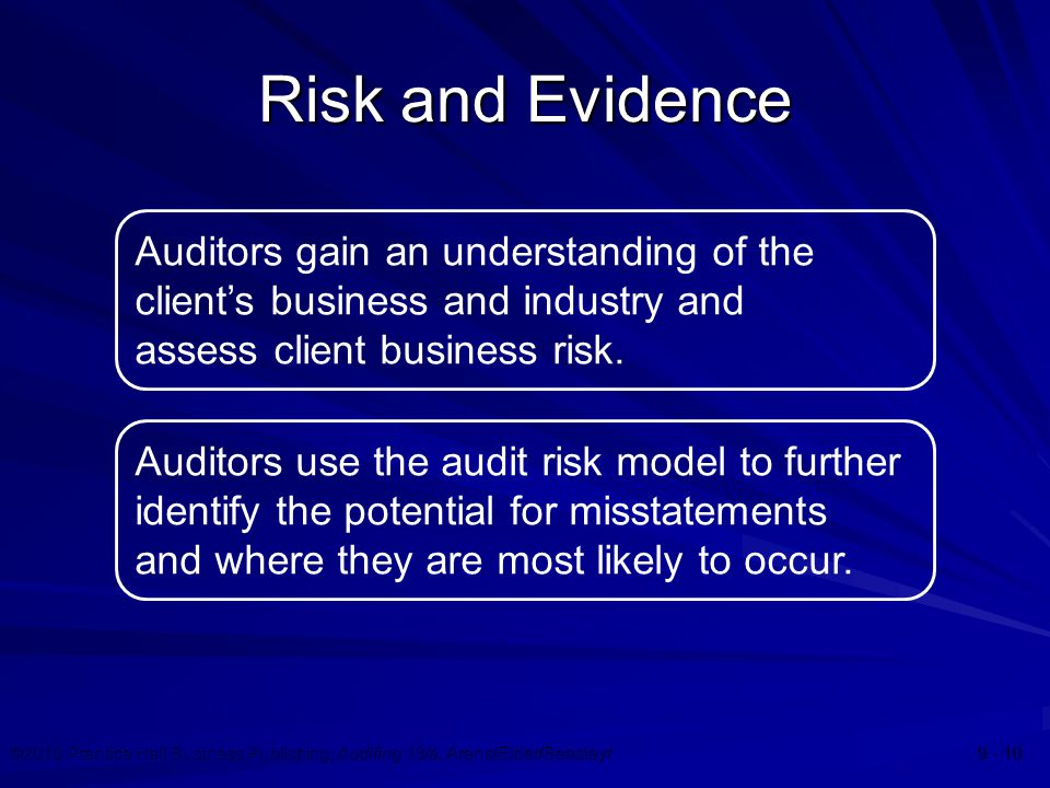 ©2010 Prentice Hall Business Publishing, Auditing 13/e, Arens/Elder/Beasleyr 9 - 10 Risk and Evidence Auditors gain an understanding of the client's b