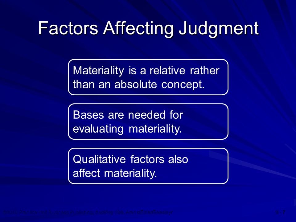 ©2010 Prentice Hall Business Publishing, Auditing 13/e, Arens/Elder/Beasleyr 9 - 7 Factors Affecting Judgment Materiality is a relative rather than an