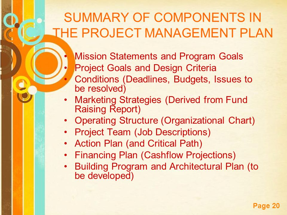 Free Powerpoint Templates Page 20 SUMMARY OF COMPONENTS IN THE PROJECT MANAGEMENT PLAN Mission Statements and Program Goals Project Goals and Design Criteria Conditions (Deadlines, Budgets, Issues to be resolved) Marketing Strategies (Derived from Fund Raising Report) Operating Structure (Organizational Chart) Project Team (Job Descriptions) Action Plan (and Critical Path) Financing Plan (Cashflow Projections) Building Program and Architectural Plan (to be developed)
