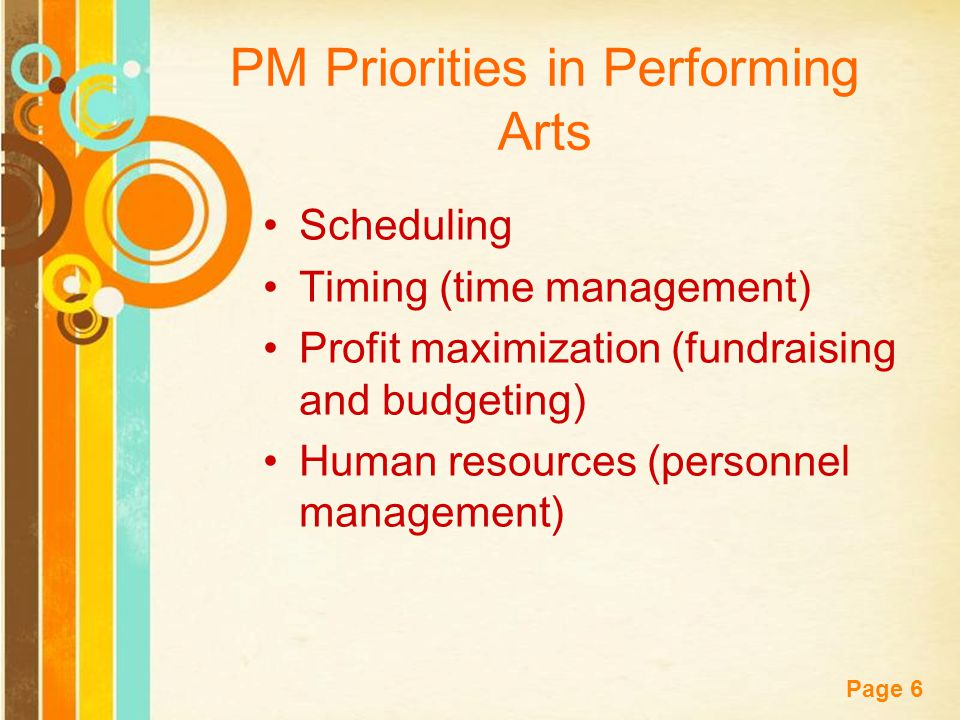 Free Powerpoint Templates Page 6 PM Priorities in Performing Arts Scheduling Timing (time management) Profit maximization (fundraising and budgeting) Human resources (personnel management)