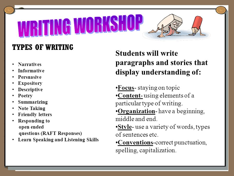 TYPES OF WRITING Narratives Informative Persuasive Expository Descriptive Poetry Summarizing Note Taking Friendly letters Responding to open ended questions (RAFT Responses) Learn Speaking and Listening Skills Students will write paragraphs and stories that display understanding of: Focus- staying on topic ContentContent- using elements of a particular type of writing.