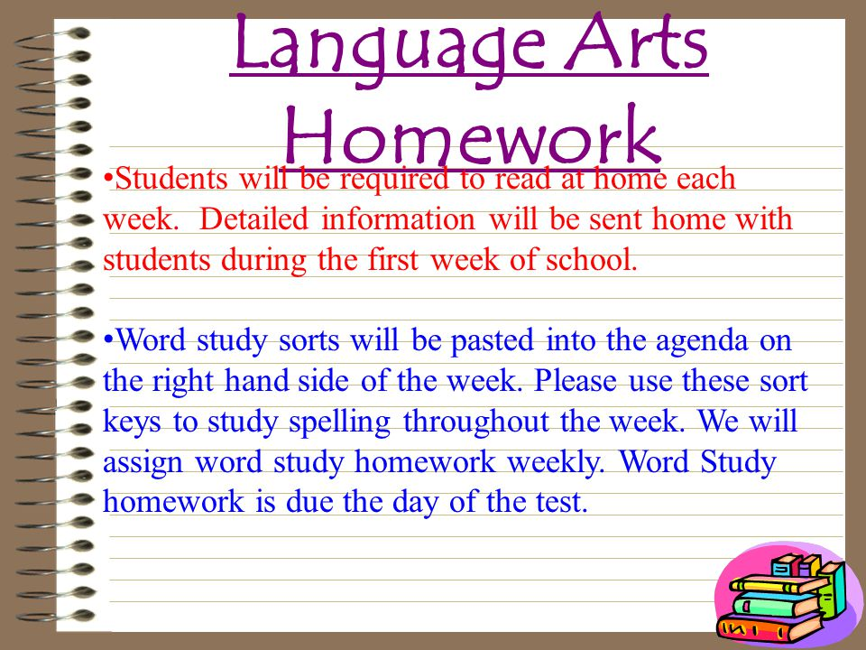 Language Arts Homework Students will be required to read at home each week.