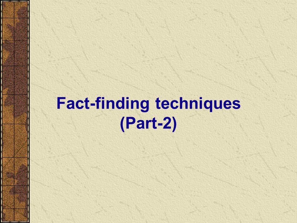 Fact-finding techniques (Part-2)