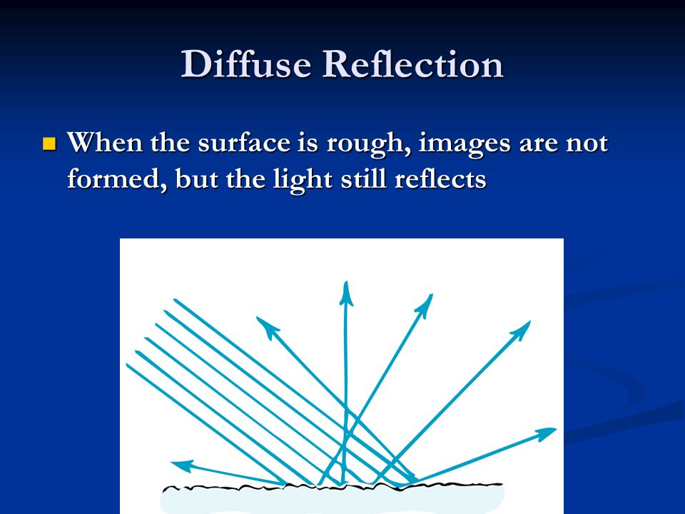 Diffuse Reflection When the surface is rough, images are not formed, but the light still reflects When the surface is rough, images are not formed, but the light still reflects