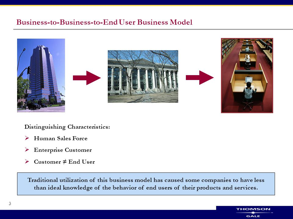 3 Business-to-Business-to-End User Business Model Distinguishing Characteristics:  Human Sales Force  Enterprise Customer  Customer ≠ End User Traditional utilization of this business model has caused some companies to have less than ideal knowledge of the behavior of end users of their products and services.