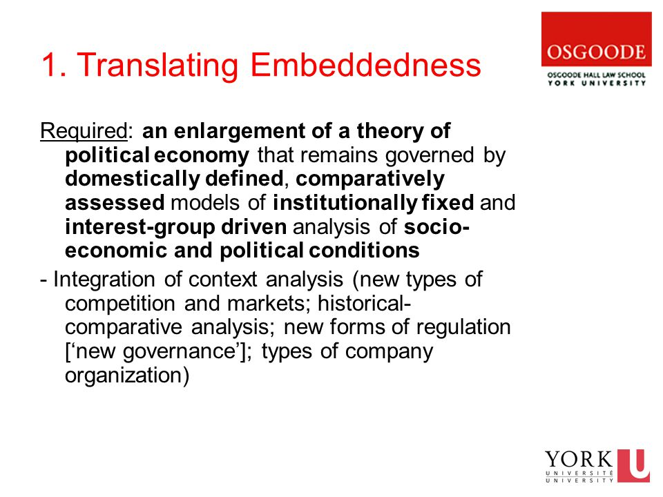 1. Translating Embeddedness Required: an enlargement of a theory of political economy that remains governed by domestically defined, comparatively ass