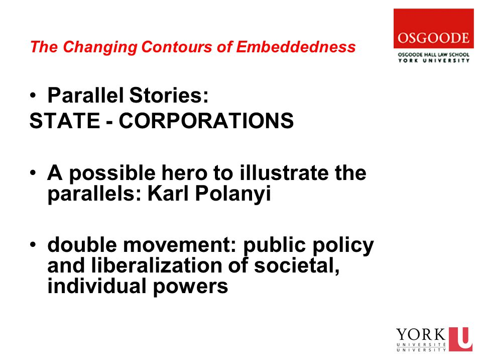 The Changing Contours of Embeddedness Parallel Stories: STATE - CORPORATIONS A possible hero to illustrate the parallels: Karl Polanyi double movement: public policy and liberalization of societal, individual powers